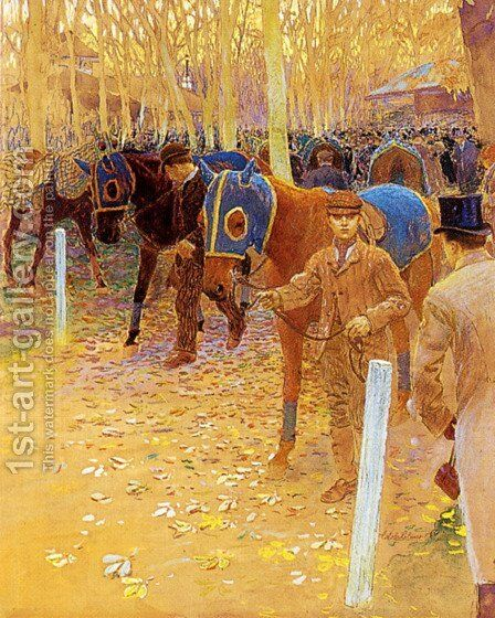 The Saddling Paddock by Adolphe Gustave Binet - Reproduction Oil Painting