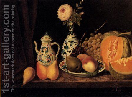 Still Life With Fruit And Oriental China by Adolphe Phalipon - Reproduction Oil Painting