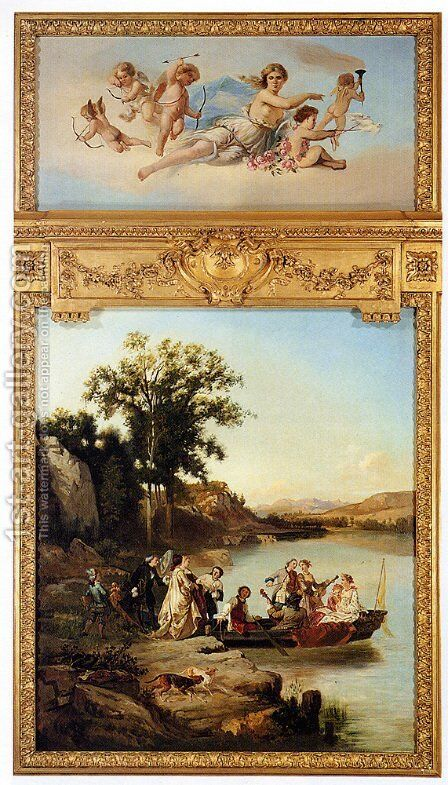 Allegory Of Spring: The Goddess Pomona Surrounded By Putti (or Embarking On A Boat Ride) by Charles Diodore Rahoult - Reproduction Oil Painting