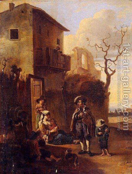 Travelers Resting By A House, With Architectural Ruins Beyond by Anthonie Goubau - Reproduction Oil Painting