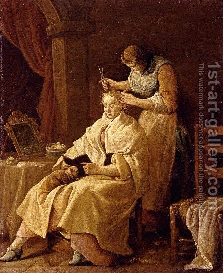 A Lady At Her Toilet by Giuseppe Gambarini - Reproduction Oil Painting