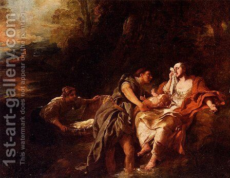 Moses Cast Into The Nile by Jean François de Troy - Reproduction Oil Painting