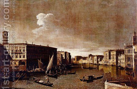 View Of The Grand Canal Looking North From The Rialto by Apollonio Domenichini - Reproduction Oil Painting