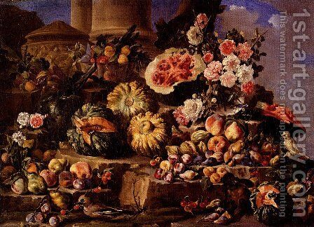 Still Life Of Fruit And Flowers On A Stone Ledge With Birds And A Monkey by Michele Pace Del (Michelangelo di) Campidoglio - Reproduction Oil Painting