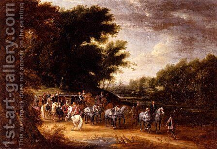 Louis XIV In A State Coach Accompanied By His Gentlemen by Adam Frans van der Meulen - Reproduction Oil Painting