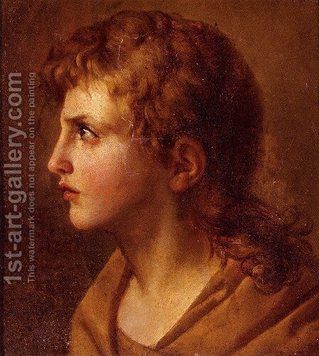 Head Of A Young Man, In Profile by Jean Baptiste Joseph Wicar - Reproduction Oil Painting