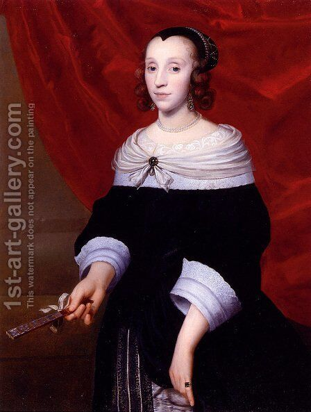 A Portrait Of A Woman With A Fan by Isaac Luttichuys - Reproduction Oil Painting