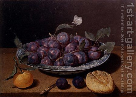 Still Life Of A Plate Of Plums And A Loaf Of Bread by Jacques Linard - Reproduction Oil Painting