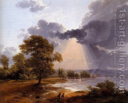A River Landscape With An Approaching Storm, Figures Running In The Foreground by Simon-Joseph-Alexandre-Clement Denis - Reproduction Oil Painting