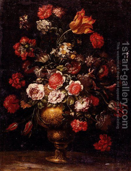 Still Life Of Flowers In A Gilt Vase by Andrea Scacciati - Reproduction Oil Painting