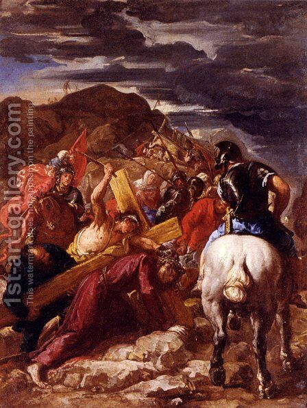 Christ On The Road To Calvary by Guillaume Courtois - Reproduction Oil Painting