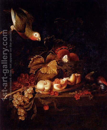 Still Life Of Grapes, A Halved Peach And Cherries Resting On A Table With A Parrot by Jakab Bogdany - Reproduction Oil Painting