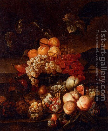 Still Life Of Grapes, Peaches, And Figs With A Landscape Beyond by Jakab Bogdany - Reproduction Oil Painting