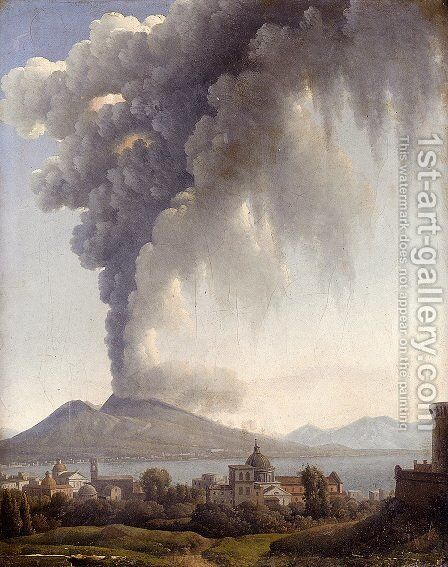 Bay Of Naples With Vesuvius Erupting Beyond by Alexandre-Hyacinthe Dunouy - Reproduction Oil Painting