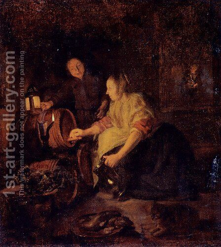 A Woman Drawing Wine From A Barrel by Gabriel Metsu - Reproduction Oil Painting