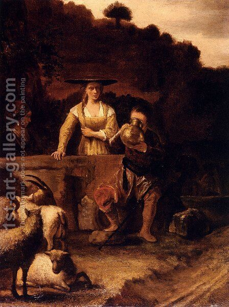 Rebecca And Eliezer At The Well by Constantijn Van Renesse - Reproduction Oil Painting