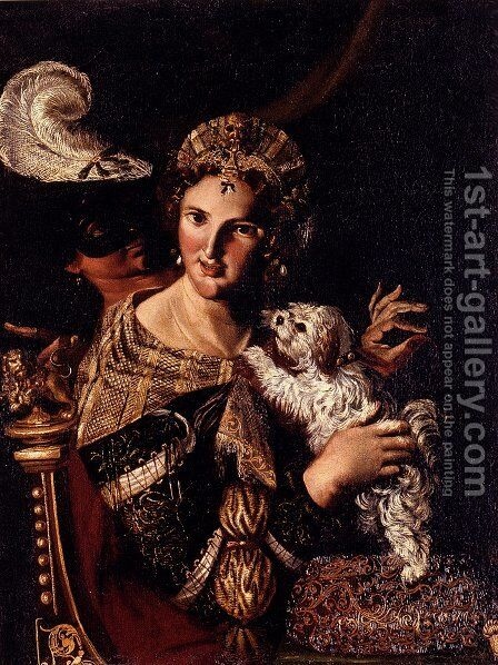 A Lady With Her Dog, An Allegory by Angelo Caroselli - Reproduction Oil Painting
