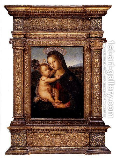 The Madonna And Child Before A Landscape by Bernardino di Betto (Pinturicchio) - Reproduction Oil Painting