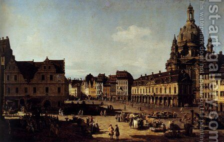 View Of The New Market In Dresden by Bernardo Bellotto (Canaletto) - Reproduction Oil Painting