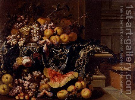 A Landscape With A Still Life Of A Melon, Watermelon, Peaches, Grapes, a Pomegranate, Cherries And Roses by Antonio Gianlisi The Younger - Reproduction Oil Painting