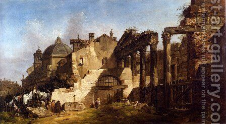 Washerwomen And Gentlemen Among Classical Ruins, A Church Beyond by Giovanni Migliara - Reproduction Oil Painting