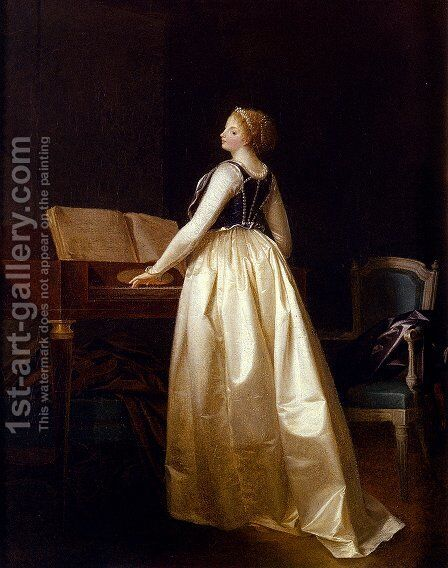 A Lady Playing The Virginals by Henri-Nicolas Van Gorp - Reproduction Oil Painting
