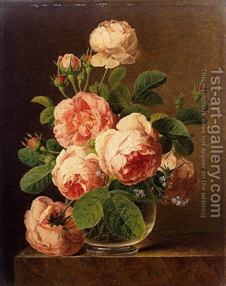 Still Life Of Roses In A Glass Vase by Jan Frans Van Dael - Reproduction Oil Painting