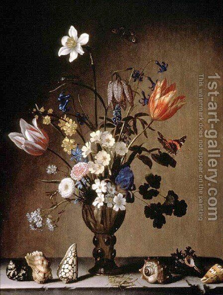 Still Life with Flowers and Shells by Balthasar Van Der Ast - Reproduction Oil Painting