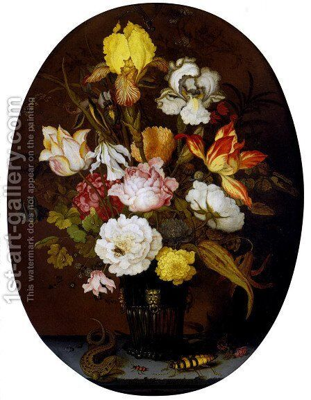 A Still life of roses, irises, tulips, narcissi and other flowers, in a glass vase with gilt mounts, set upon a ledge, flanked by a lizard and a large beetle by Balthasar Van Der Ast - Reproduction Oil Painting