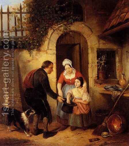 An Offering by Henri Joseph Gommarus Carpentero - Reproduction Oil Painting