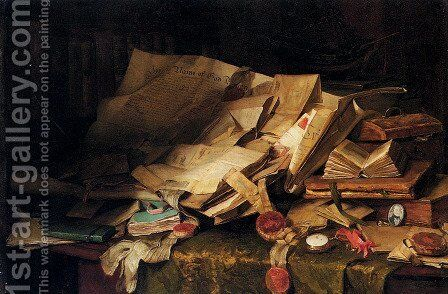 Still Life: Books And Papers On A Desk by Catherine M. Wood - Reproduction Oil Painting