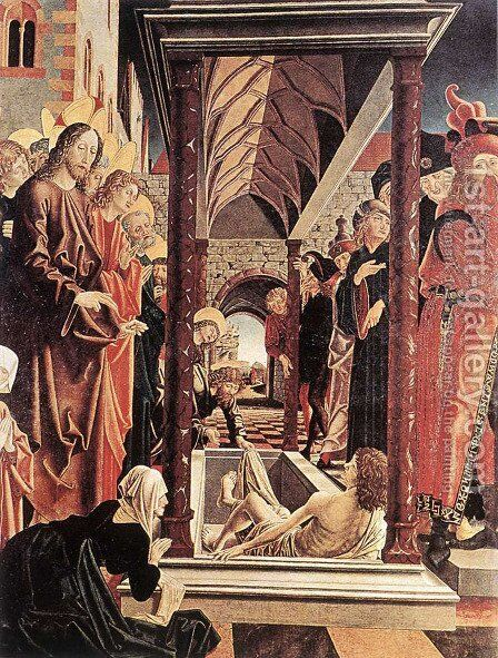St Wolfgang Altarpiece: Resurrection of Lazar by Michael Pacher - Reproduction Oil Painting