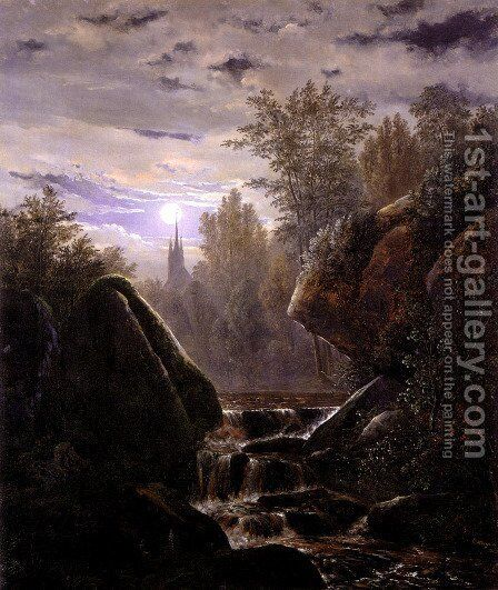 A Moonlit Night by Carl Wagner - Reproduction Oil Painting
