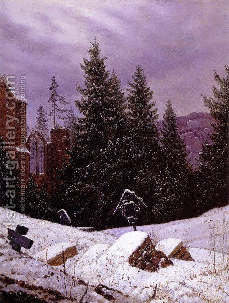 Cemetary on Mount Oybin by Carl Gustav Carus - Reproduction Oil Painting