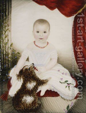 Baby with Rattle and Dog by Moses B. Russell - Reproduction Oil Painting