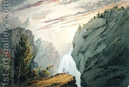 At the Waterfall by David Claypoole Johnston - Reproduction Oil Painting
