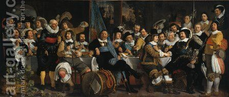 The Celebration of the Peace of Münster, 18 June 1648 in the Headquarters of the Crossbowman's Civi by Bartholomeus Van Der Helst - Reproduction Oil Painting