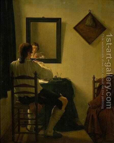 A Writer Trimming his Pen by Jan, II Ekels - Reproduction Oil Painting