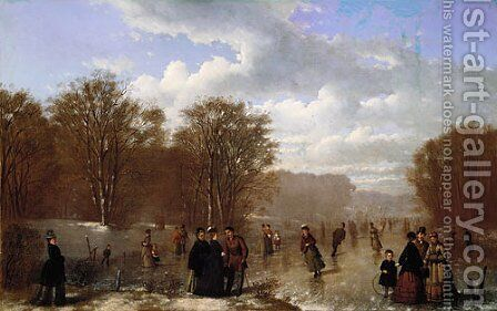 Skating on the Wissahickon by Johan Mengels Culverhouse - Reproduction Oil Painting