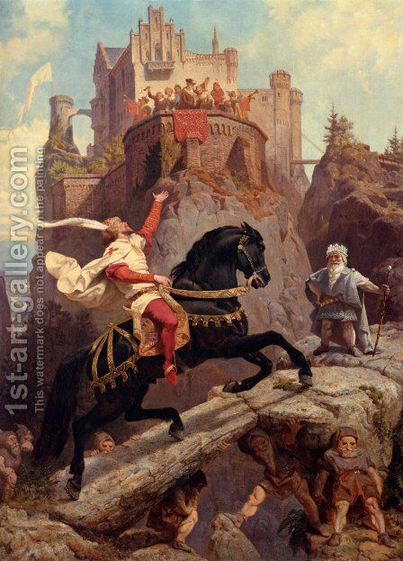 The Knight Of Sayn And The Gnomes by Nicolas-Bernard Lepicier - Reproduction Oil Painting