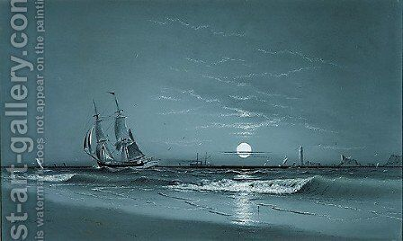Entrance to Harbor--Moonlight by David Johnson Kennedy - Reproduction Oil Painting