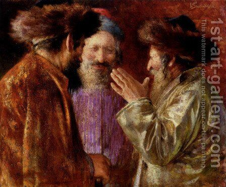 Three Rabbis Of Jerusalem by Isaac Snowman - Reproduction Oil Painting