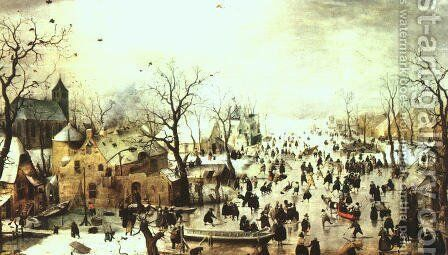 A Scene on the Ice near a Town by Hendrick Avercamp - Reproduction Oil Painting