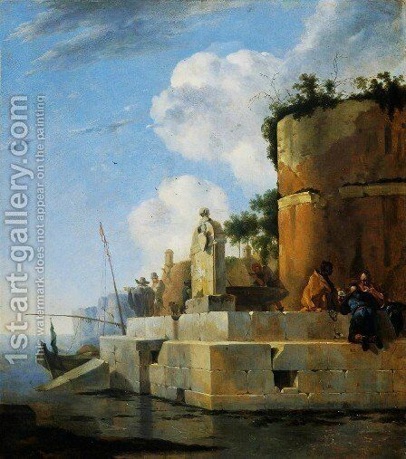 A Waterside Ruin in Italy by Jan Asselyn - Reproduction Oil Painting
