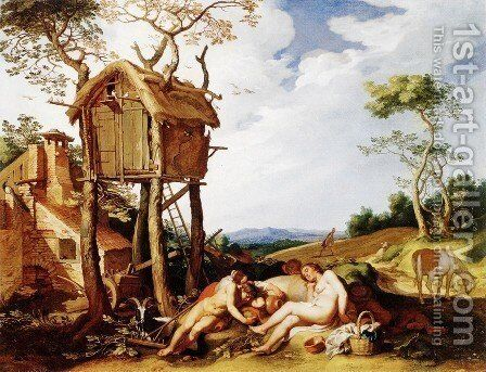 Landscape with Parable of the Wheat and the Tares by Abraham Bloemaert - Reproduction Oil Painting