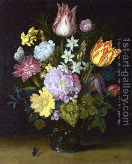 Flowers in a Vase by Ambrosius the Elder Bosschaert - Reproduction Oil Painting
