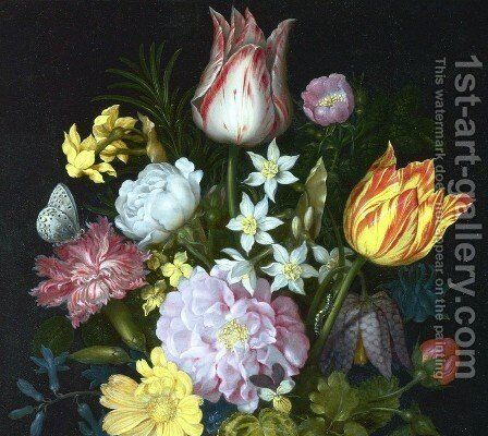 Flowers in a Vase [detail #1] by Ambrosius the Elder Bosschaert - Reproduction Oil Painting