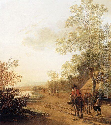 Road by a Lake by Jan Both - Reproduction Oil Painting