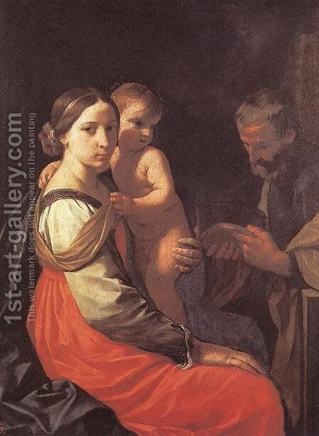 Holy Family by Simone Cantarini (Pesarese) - Reproduction Oil Painting