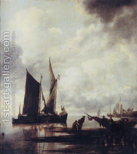 Boats in Shallow Water by Jan Van De Capelle - Reproduction Oil Painting